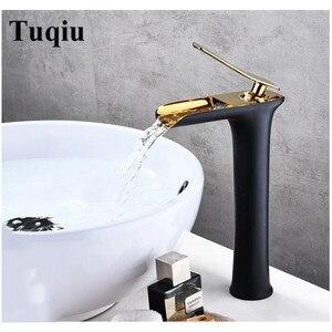 Смеситель для раковины, кран для ванной комнаты с одной ручкой, смеситель для раковины, черный и золотой кран для горячей и холодной воды, ла...