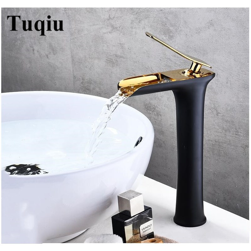 Basin Faucets Waterfall Bathroom Faucet Single handle Basin Mixer hot and cold black and gold Faucet Brass Sink Water Crane