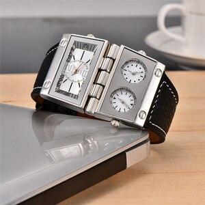 Image 4 - Oulm montre bracelet de Sport pour hommes, trois zones horaires 2 cadrans, grand cadran à Quartz, montre de style militaire, décontracté