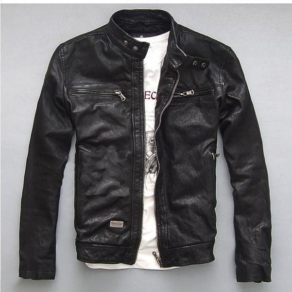Envío libre súper moda y alta calidad de piel de oveja estilo de la estrella hombres de la motocicleta chaqueta de cuero del ante / M-3XL