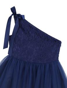 Image 4 - Crianças Meninas Um Ombro Bordado Floral Lace Bowknot Vestido Da Menina Flor Princesa Casamento Pageant Festa de Aniversário Vestido de Tule