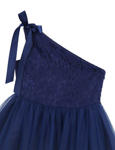Image 4 - Kids Girls One Shoulder Embroidered Floral Lace Bowknot Flower Girl Dress Princess Pageant Wedding Birthday Party Tulle Dress