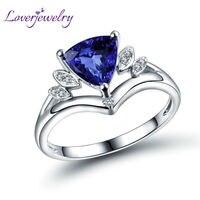 Elegent Solid 18Kt White Gold Natural Diamond Genuine Tanzanite Engagement Ring Trillion 7x7mm Wedding Jewelry WU295