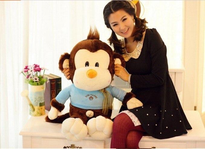 Gros jouet de singe en peluche jouet de singe avec cadeau de poupée en tissu bleu environ 85 cm 0128