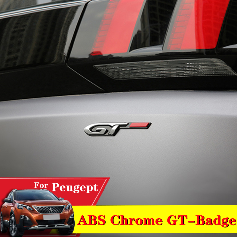 Car-Styling ABS Chrome GT Badge Emblem Sticker Decal Rear Door Badge Accessories For <font><b>Peugeot</b></font> <font><b>5008</b></font> 4008 3008 GT 2008 508 408 308 image