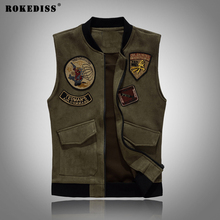 ROKEDISS Men's Denim Vest Male Light Color Slim Fit Sleeveless Jackets Men Jeans Waistcoat Hole Washed Cowboy Brand Clothing
