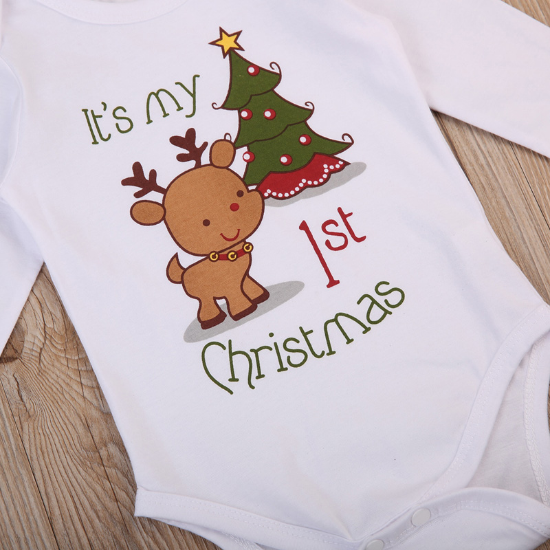 Cartoon Deer Christmas Newborn Romper
