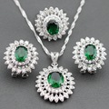 Sterling Silver New Arrival Big Flower Green Zircon Jewelry Sets Earrings/Pendant/Necklace/Ring For Women Free Jewelry Box TZ63