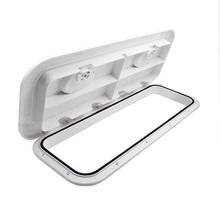 White ABS Marine rectangle deck cover hand hole boat porthole storage box for RV Boat Yatch 607*243MM