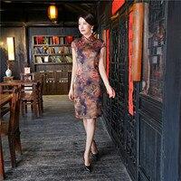 نعمة جديد الشرقيون سيدة فساتين شيونغسام الصينية نمط المرأة الجديدة اليوسفي طوق سلم فستان تشيباو طباعة زائد حجم s-3xl