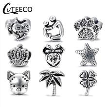 CUTEECO Sliver Cute Mickey Beads Turtle Crow Star Family Cat Bears Paw Love Charms Fit Pandora Charm DIY Bracelets