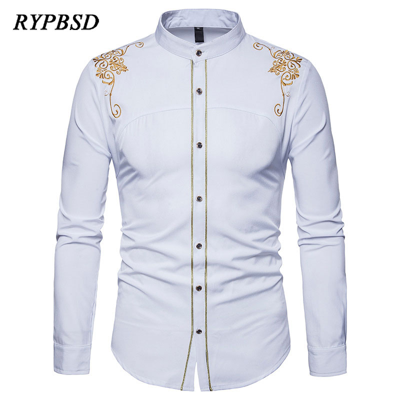 2019 Spring England Style Retro Palace Unique Starry Sky Fashion Shirts For Men Casual Loose Cool Lace Shirts Men Stage Costumes Shirts