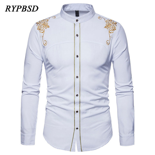 ORMELL Women Elegant Blue #Striped Floral #Embroidery #Shirts Long Sleeve  Stand Collar Loose