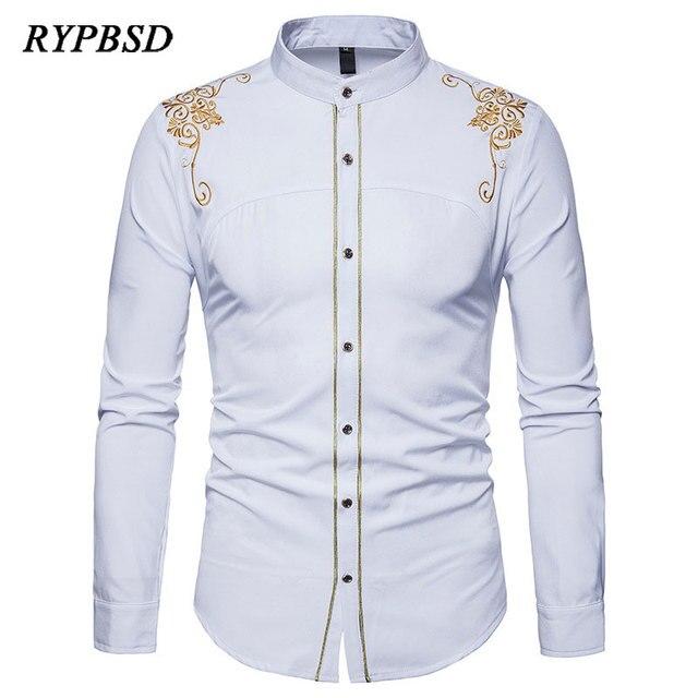 2018 Spring New Fashion British Palace Gold Flower Embroidery Shirt Men Long  Sleeve Dress Shirt Slim