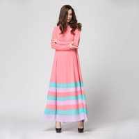 Women Sheer Chiffon Islamic Wear Abaya Jilbab Hijab Muslim Rainbow Dress M/L Hot