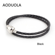 Classic Colors Genuine Leather DIY Bracelet Chain Platinum Plated Clips Bracelets For Metal Glass European Big Hole Beads Charms