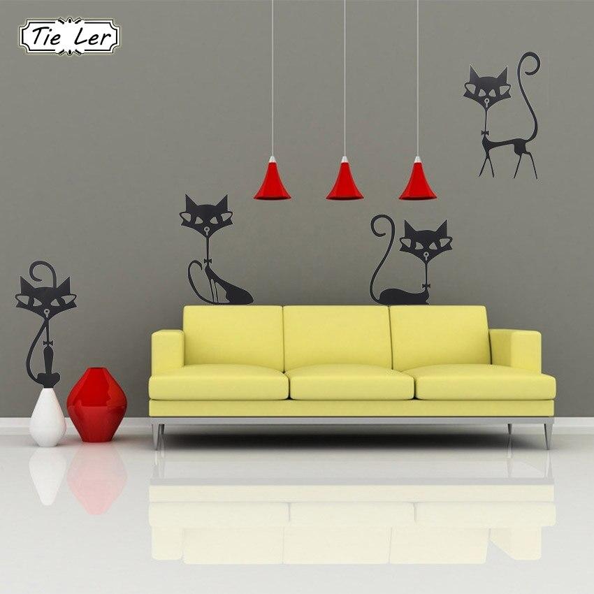 Мода стены наклейки четыре Черная Кошка наклейки Гостиная Настенный декор ребенок Спальня декор дома виниловые наклейки