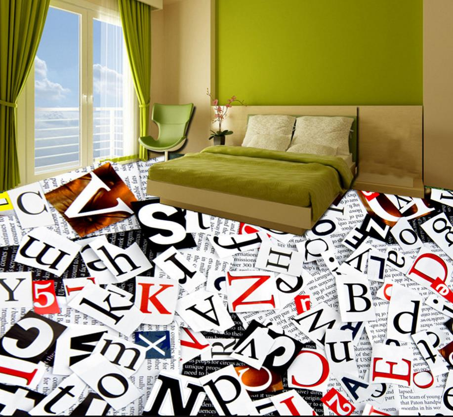 3D floor living room sticker custom pvc flooring roll colorful English pvc vinyl flooring self adhesive wallpaper