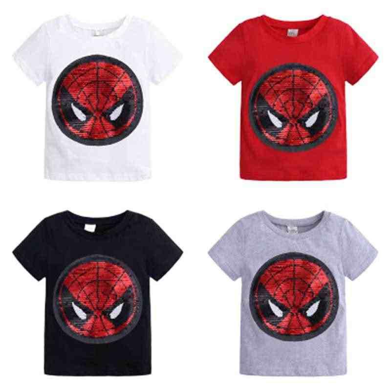 Nuovo Cambiamento di Colore Paillettes Scolorimento Spiderman Capitan America del Cotone di Estate Magliette per I Bambini Della Ragazza Dei Ragazzi T Shirt Magliette e camicette
