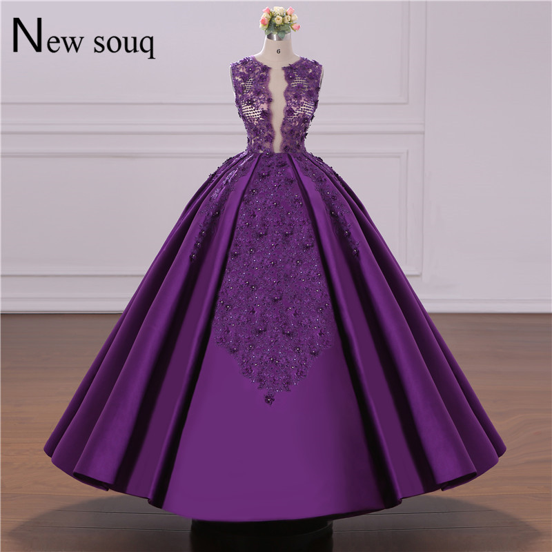 Image réelle robe de soirée pourpre Puffy robes de bal sur mesure Jordan Dubai arabe robes de soirée dentelle Applique moyen-orient femmes