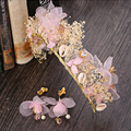 Romantic Handmade Dry Flower Tiara and Earrings Simulated Pearls Jewelry Shell Hair Accessories Silk Wreath Jewelry Sets SG385