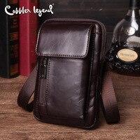 Cobbler Legend Genuine Leather Phone Bag Men Clutch Shoulder Crossbody Bag Male Purses Dark Travel Waist Pack Bag Belt Designer