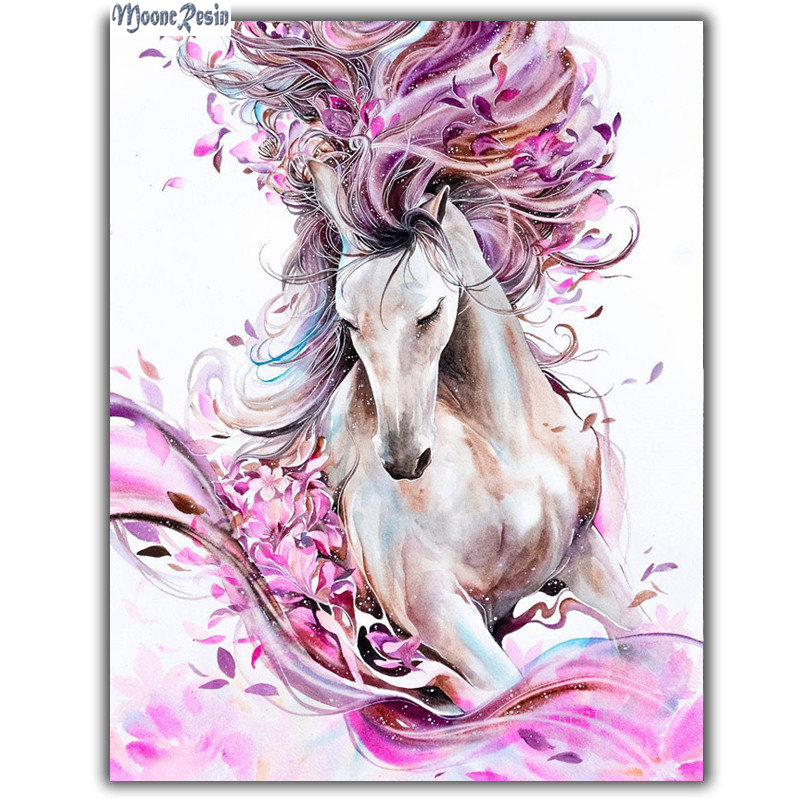 MOONCRESIN 3D Diy Diamond Embroidery Christmas Pink Romantic Horse Diamond Mosaic Full Diamond Painting Cross Stitch Decoration in Diamond Painting Cross Stitch from Home Garden