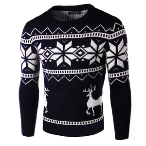 Image 4 - Deer Christmas Sweaters for Man O Neck Casual Pullover Male Sweater Men Jumper Mens Knitwear Sueter Slim Top Winter Sweters