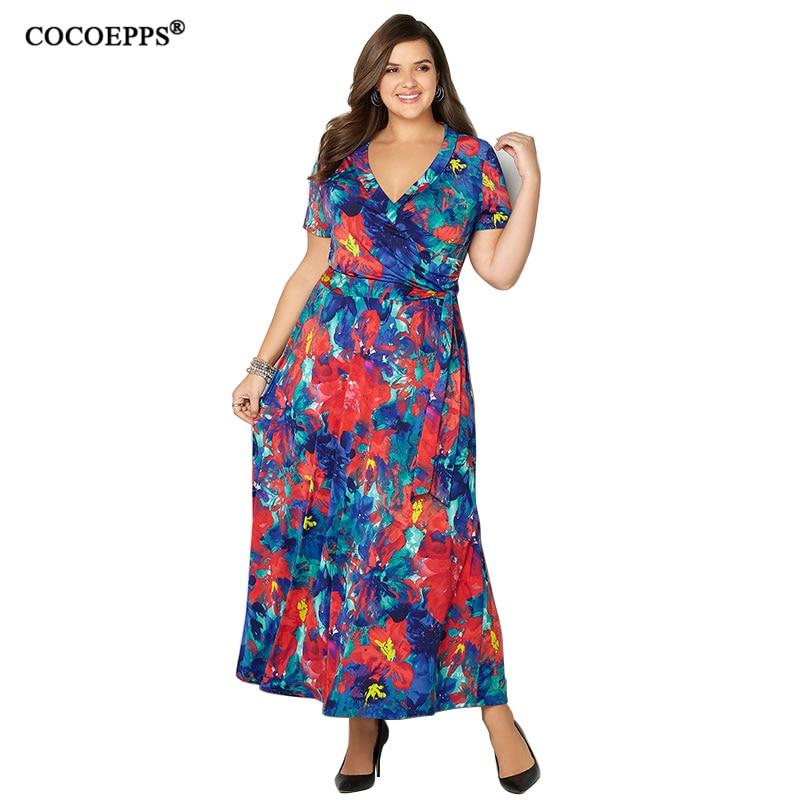 Summer vintage flower print big size long women's dress 2018 plus size boho v-neck elegant maxi dress party vestido 6xl