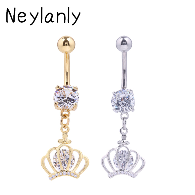 Us 2 09 25 Off 316l Stainless Steel Navel Piercing Jewelry Women High Quality Belly Rings Charms Crown Dangle Belly Button Rings Accessories On
