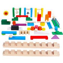 Wooden Domino Institution Accessories Toy For Children Wood Dominoes Game Building Blocks Bricks Educational Toys Dominos Gifts(China)