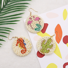 Cactus/Flamingo Wicker Rattan Earrings for Women Bohemian Disc Straw Drop Earring Handmade Woven Natural Earing Pendientes цена