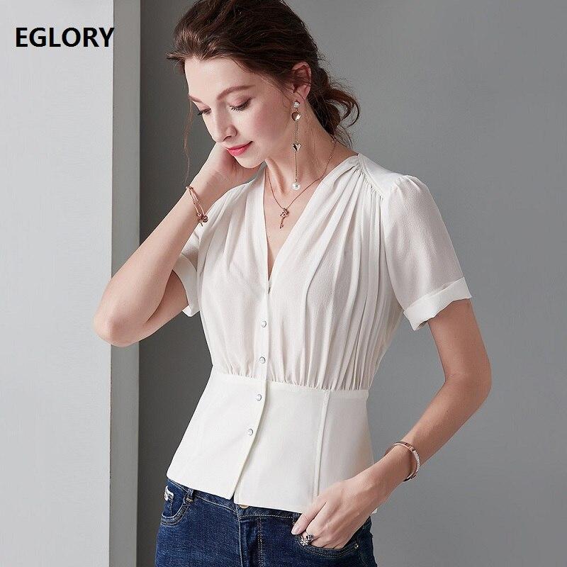 Top qualité marque soie Blouses 2019 été élégant bureau Blouse femmes v-cou perles bouton à manches courtes blanc noir chemises OL