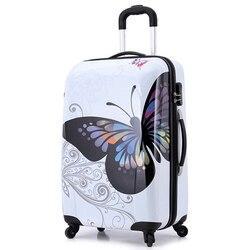20 24 дюймов Удивительные Горячие продажи Япония бабочка ABS чемодан на колесиках для багажа/тяги багажника/путешественника коробка с Спинне...