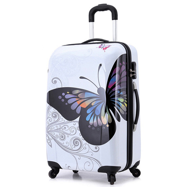 "20"" 24""inch amazing hot sales Japan butterfly ABS trolley suitcase luggage/Pull Rod trunk /traveller case box with spinner wheel"