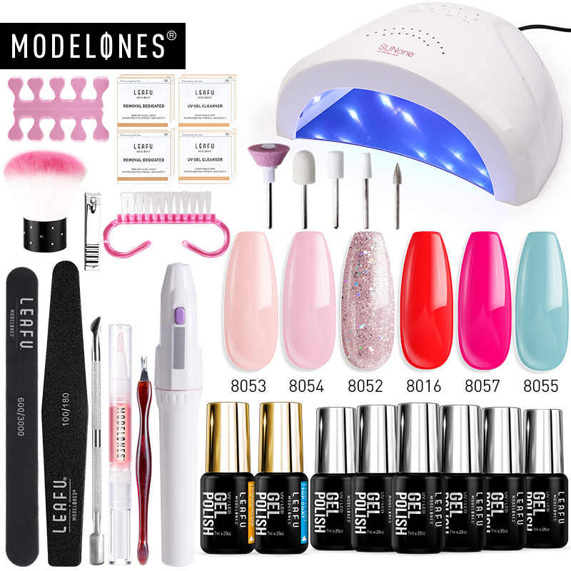 Modelones 20 Pcs/Lot 48W Sunone lampe à LED vernis à ongles Art Gel ensemble perceuse électrique outils manucure Kits Semi Permanent 6 couleurs Gel