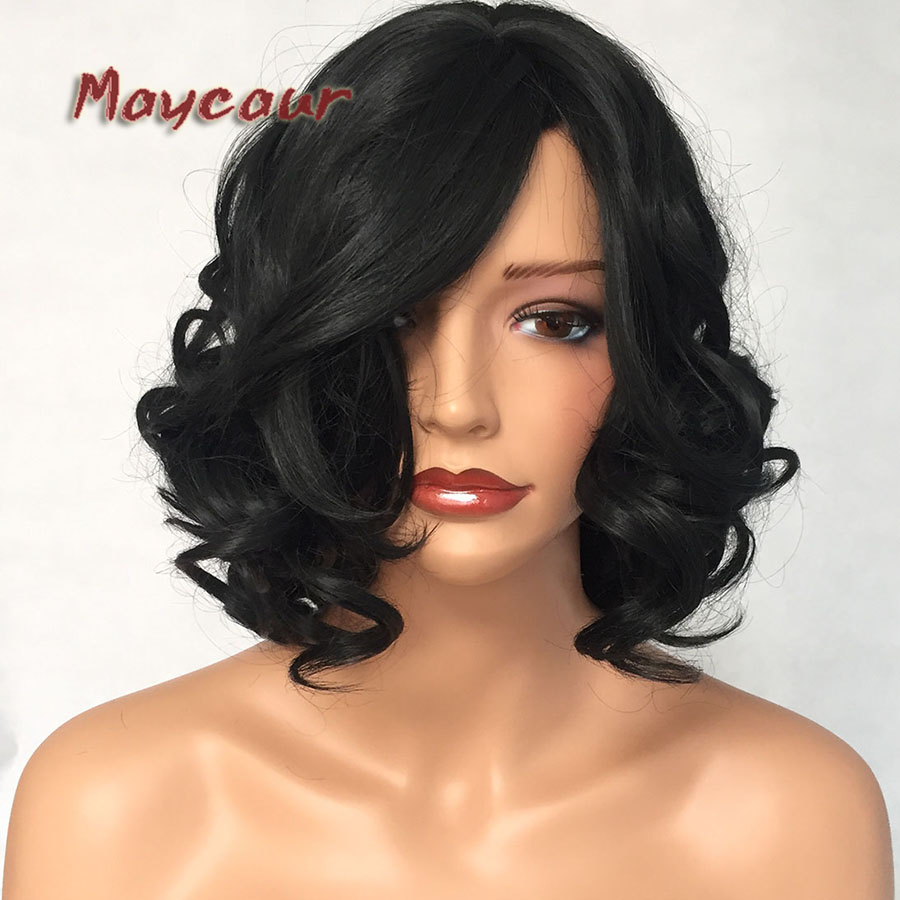 Fashion Synthetic None Lace Wigs Black Color Short Bob Hair Wig No Lace Glueless Heat Resistant Body Wave Wigs for Black Women