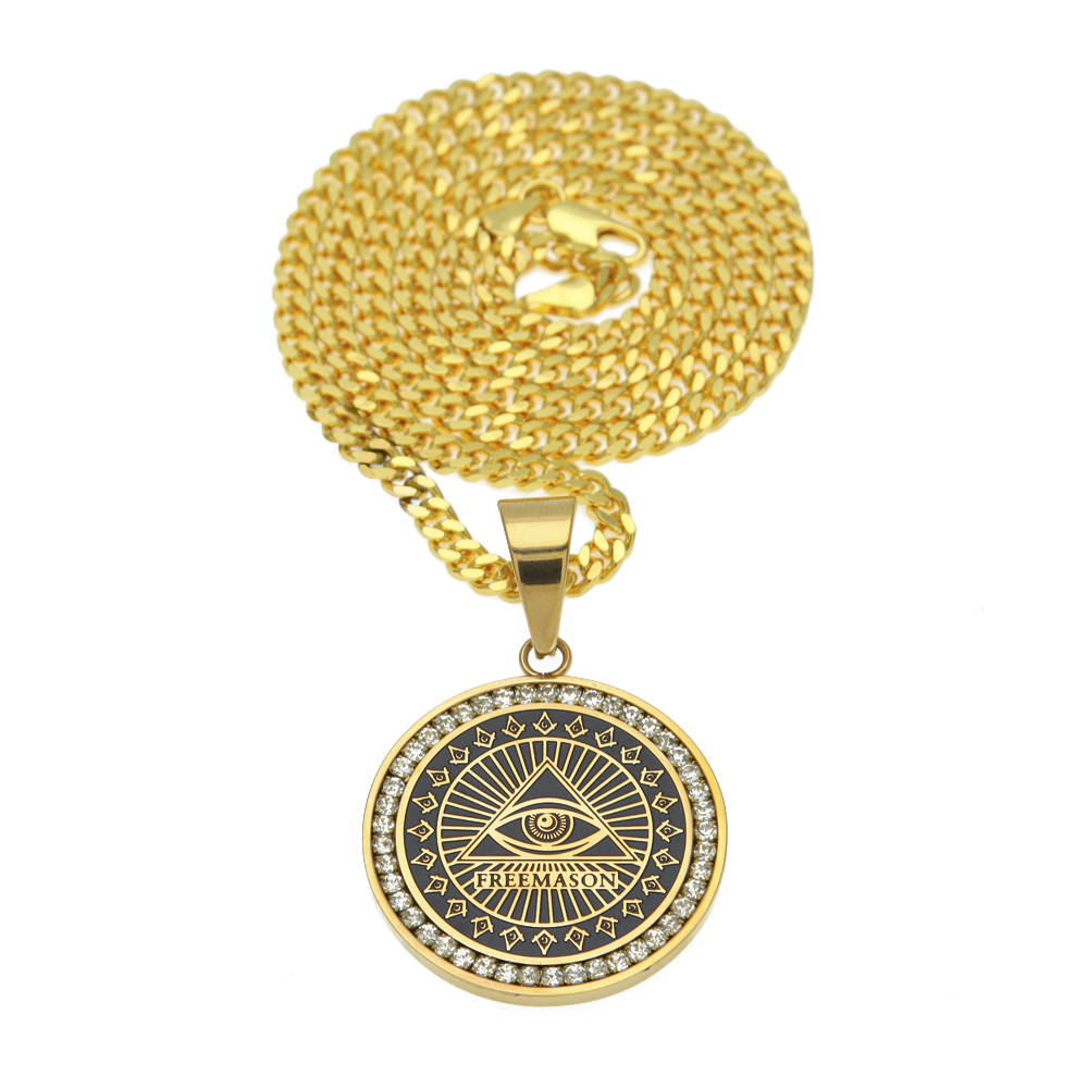 Hip Hop Mens Freemason Pendant Necklace Micro Paved Rhinestone Illuminati All-seeing Eye Replica Coins Round Charming Necklace seeing red