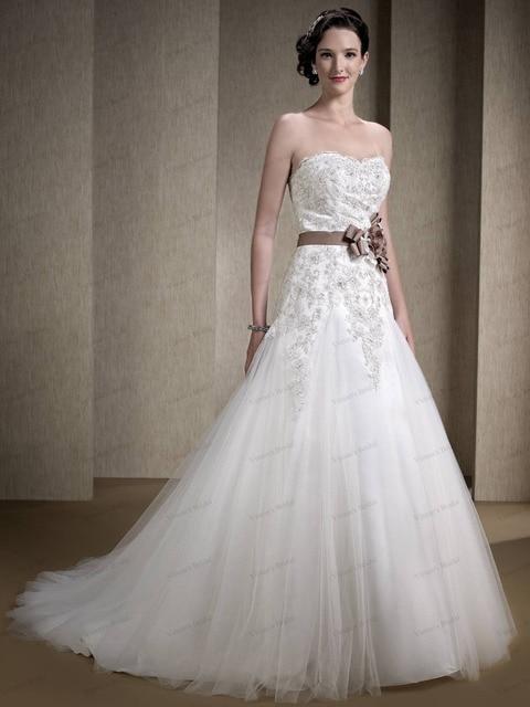 Belted Tulle Wedding Dress