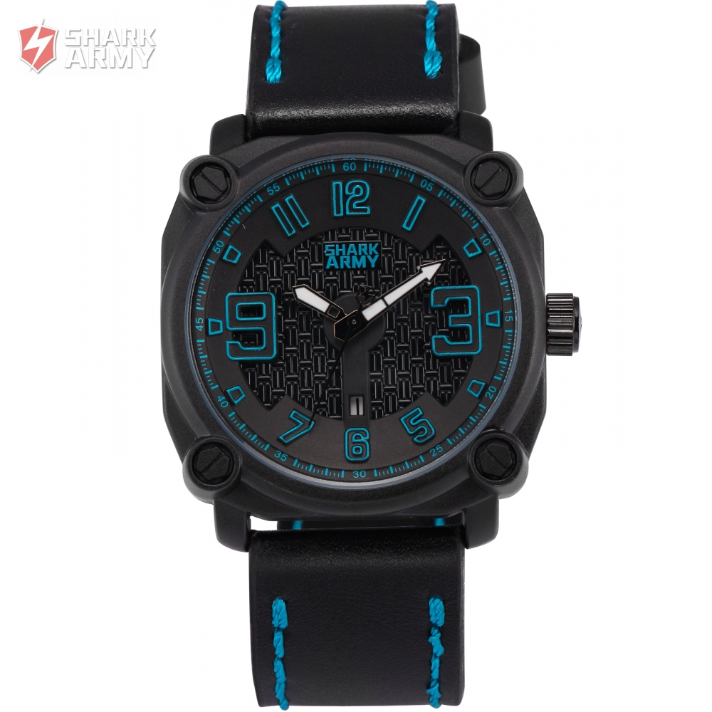 font b SHARK b font ARMY Brand Stainless Steel Blue Electroplate Case Leather Band Sports