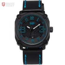 SHARK ARMY Brand Stainless Steel Blue Electroplate Case Leather Band Sports reloj hombre Quartz Mens Military