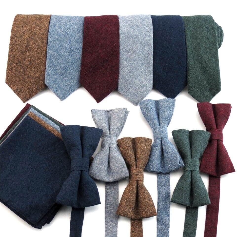 Cotton Tie Set Men Necktie Bowtie Pocket Square Hanky Narrow Ties For Men Wedding Party Suit Shirt Dress Gravata Slim Cravate