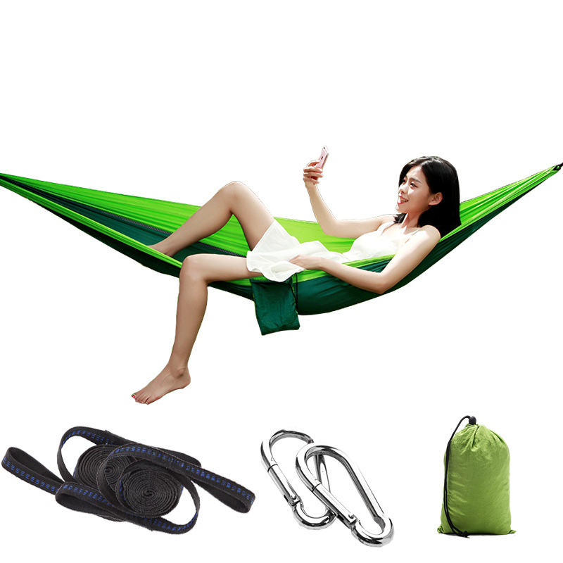Single People Hammock Camping Dormitory Outdoor Leisure Parachute Cloth Hammock Ultra Light Fast Dry Nylon Hanging Chair BedSingle People Hammock Camping Dormitory Outdoor Leisure Parachute Cloth Hammock Ultra Light Fast Dry Nylon Hanging Chair Bed