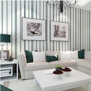 Mediterranean Blue Vertical Stripes Stylish Simplicity Pure Paper Green Wallpaper Wallpaper Bedroom Living Room Sofa