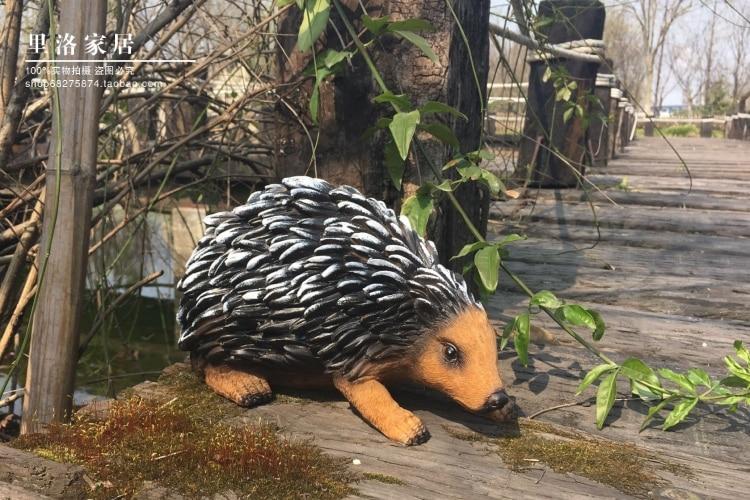 Résine-rétro simulation animaux mignon hérisson mis en place le jardin petite maison campagne américaine tête Arts artisanat maison résine