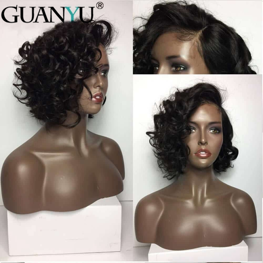Short Lace Front Human Hair Wigs Natural Wave Brazilian Remy Hair Bob Wigs Curly With Pre