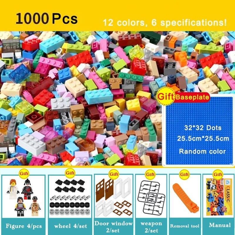 1000 piezas de ladrillos diseñador creativo clásico de ladrillos DIY juguetes educativos bloques de construcción a granel para el regalo de los niños Compatible Legoe