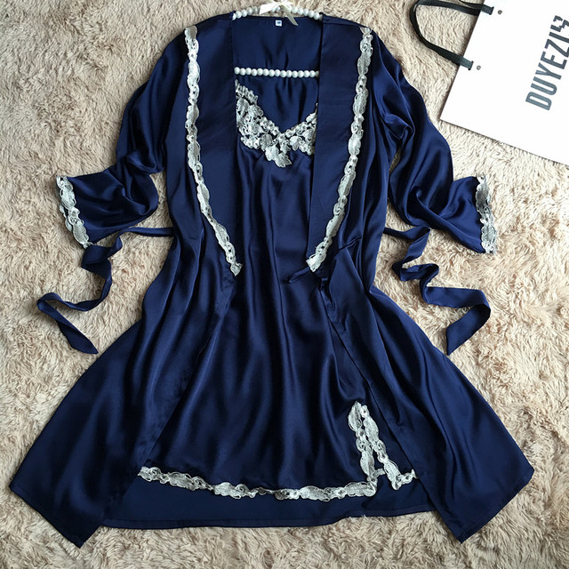High Quality Sexy Women Satin Nightgown Robe Set Sexy Lace Strap Dress + Robe Sleepwear Two Pieces Female Nightwear M029