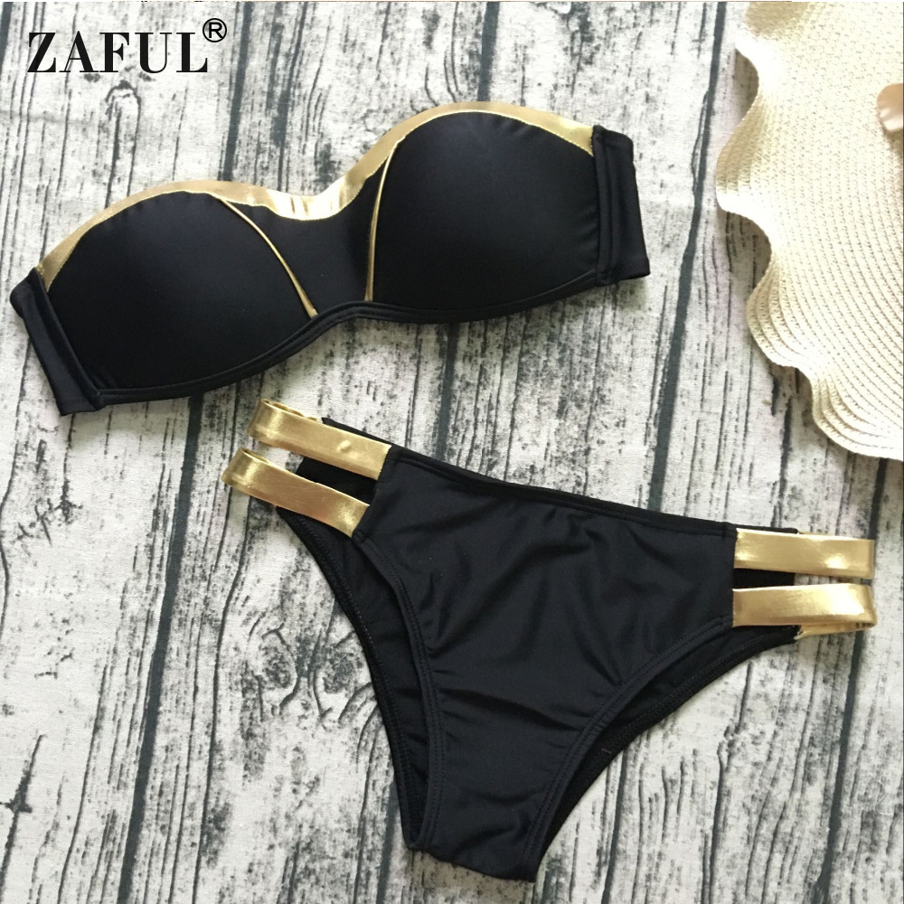 Zaful Sexy Swimwear Women Gold Stamping Bathing Suit Bikini Set Swimsuit Strapless Padded Push Up Bandeau Summer Beachwear