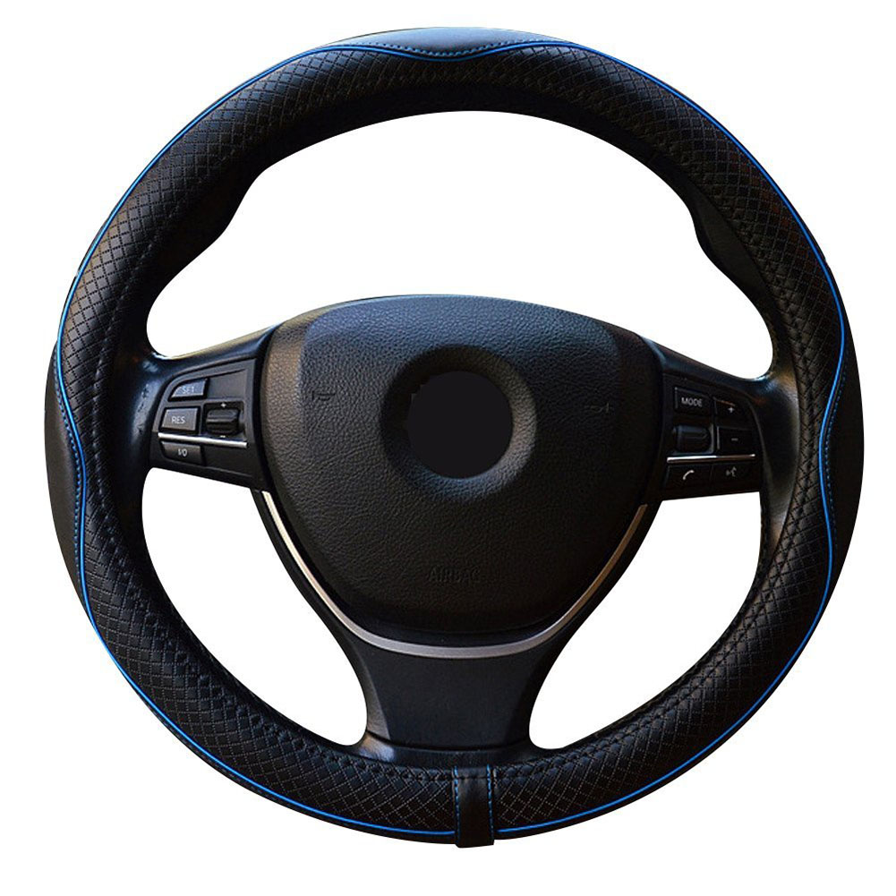Car Leather Steering Wheel Cover Universal 15 inch/38cm Breathable Anti-slip Auto Good Grip